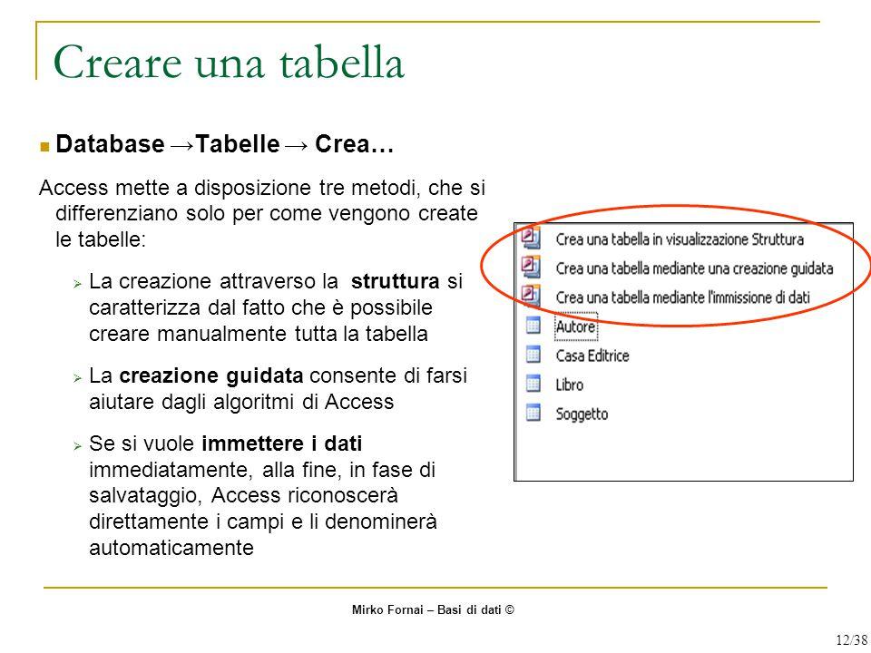 Creare una tabella Database →Tabelle → Crea… Access mette a disposizione tre metodi, che si differenziano solo per come vengono create le tabelle:  L