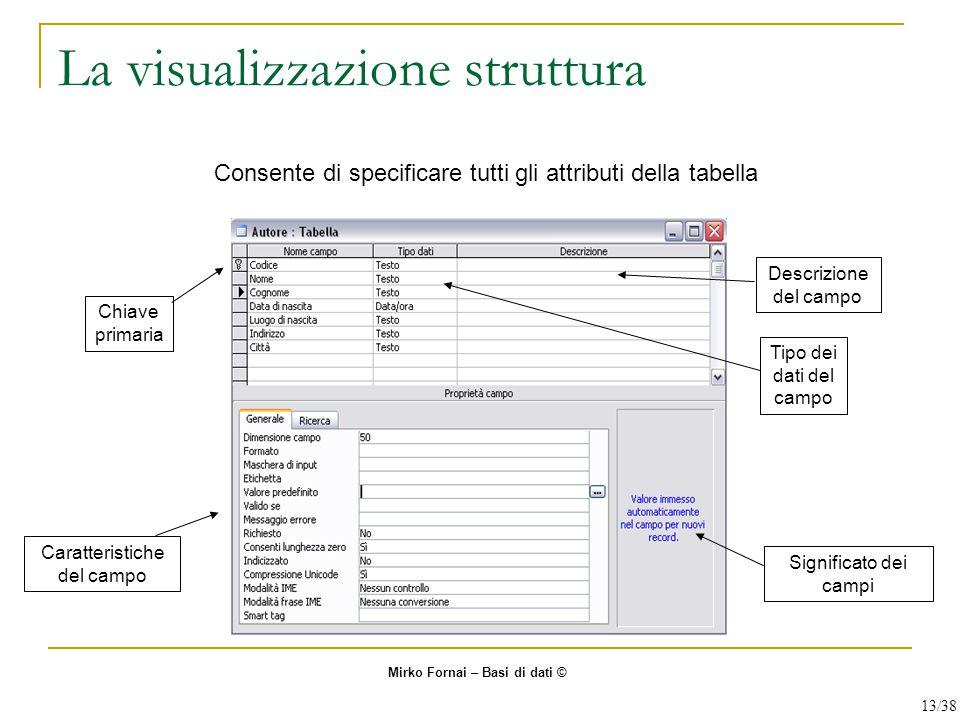 La visualizzazione struttura Consente di specificare tutti gli attributi della tabella Chiave primaria Descrizione del campo Tipo dei dati del campo S