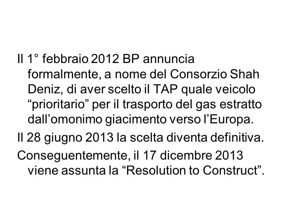 Il 1° febbraio 2012 BP annuncia formalmente, a nome del Consorzio Shah Deniz, di aver scelto il TAP quale veicolo prioritario per il trasporto del gas estratto dall'omonimo giacimento verso l'Europa.