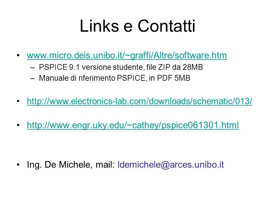 Links e Contatti www.micro.deis.unibo.it/~graffi/Altre/software.htm –PSPICE 9.1 versione studente, file ZIP da 28MB –Manuale di riferimento PSPICE, in PDF 5MB http://www.electronics-lab.com/downloads/schematic/013/ http://www.engr.uky.edu/~cathey/pspice061301.html Ing.
