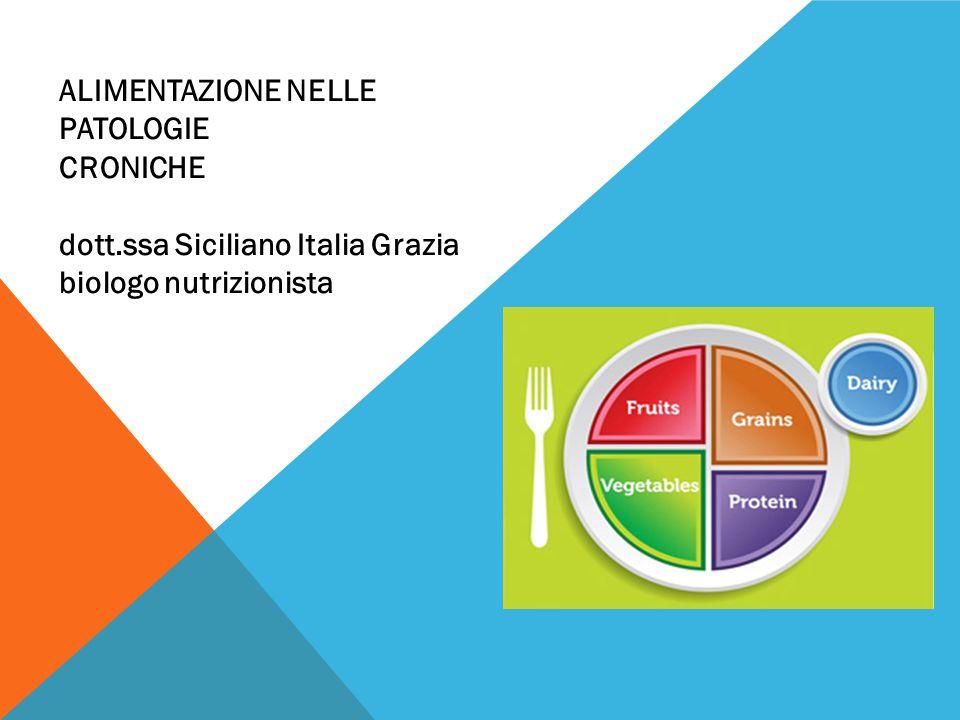 ALIMENTAZIONE NELLE PATOLOGIE CRONICHE dott.ssa Siciliano Italia Grazia biologo nutrizionista