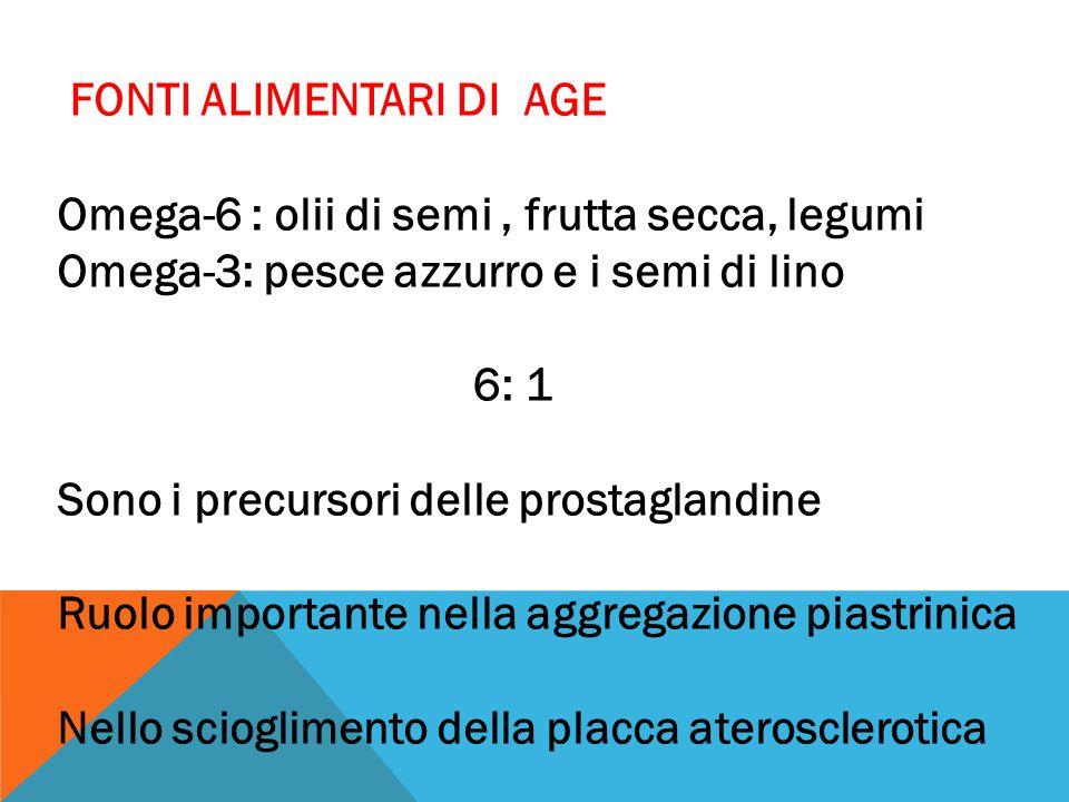 FONTI ALIMENTARI DI AGE Omega-6 : olii di semi, frutta secca, legumi Omega-3: pesce azzurro e i semi di lino 6: 1 Sono i precursori delle prostaglandi