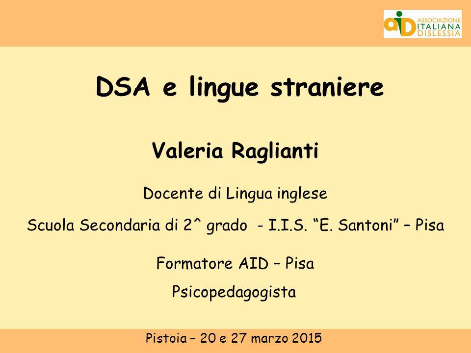 Parleremo di: Introduzione:normativa DSA e lingua straniera:- Le 4 abilità - Le difficoltà specifiche della lingua inglese - Attività e situazioni ansiogene Strategie didattiche insegnanti e/o tutor  COME valuto.