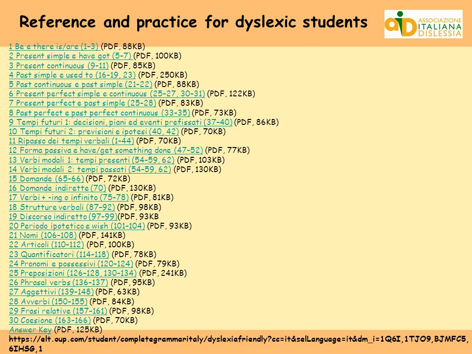 Reference and practice for dyslexic students 1 Be e there is/are (1–3) 1 Be e there is/are (1–3) (PDF, 88KB) 2 Present simple e have got (5–7) 2 Present simple e have got (5–7) (PDF, 100KB) 3 Present continuous (9–11)3 Present continuous (9–11) (PDF, 85KB) 4 Past simple e used to (16–19, 23)4 Past simple e used to (16–19, 23) (PDF, 250KB) 5 Past continuous e past simple (21–22)5 Past continuous e past simple (21–22) (PDF, 88KB) 6 Present perfect simple e continuous (25–27, 30–31)6 Present perfect simple e continuous (25–27, 30–31) (PDF, 122KB) 7 Present perfect e past simple (25–28)7 Present perfect e past simple (25–28) (PDF, 83KB) 8 Past perfect e past perfect continuous (33–35)8 Past perfect e past perfect continuous (33–35) (PDF, 73KB) 9 Tempi futuri 1: decisioni, piani ed eventi prefissati (37–40)9 Tempi futuri 1: decisioni, piani ed eventi prefissati (37–40) (PDF, 86KB) 10 Tempi futuri 2: previsioni e ipotesi (40, 42)10 Tempi futuri 2: previsioni e ipotesi (40, 42) (PDF, 70KB) 11 Ripasso dei tempi verbali (1–44)11 Ripasso dei tempi verbali (1–44) (PDF, 70KB) 12 Forma passiva e have/get something done (47–52)12 Forma passiva e have/get something done (47–52) (PDF, 77KB) 13 Verbi modali 1: tempi presenti (54–59, 62)13 Verbi modali 1: tempi presenti (54–59, 62) (PDF, 103KB) 14 Verbi modali 2: tempi passati (54–59, 62)14 Verbi modali 2: tempi passati (54–59, 62) (PDF, 130KB) 15 Domande (65–66)15 Domande (65–66) (PDF, 72KB) 16 Domande indirette (70)16 Domande indirette (70) (PDF, 130KB) 17 Verbi + -ing o infinito (75–78)17 Verbi + -ing o infinito (75–78) (PDF, 81KB) 18 Strutture verbali (87–92)18 Strutture verbali (87–92) (PDF, 98KB) 19 Discorso indiretto (97–99)19 Discorso indiretto (97–99)(PDF, 93KB 20 Periodo ipotetico e wish (101–104)20 Periodo ipotetico e wish (101–104) (PDF, 93KB) 21 Nomi (106–108)21 Nomi (106–108) (PDF, 141KB) 22 Articoli (110–112)22 Articoli (110–112) (PDF, 100KB) 23 Quantificatori (114–118)23 Quantificatori (114–118) (PDF, 78KB) 24 Pronomi e possessivi (120–124)24 Pronomi e possessivi (120–124) (PDF, 79KB) 25 Preposizioni (126–128, 130–134)25 Preposizioni (126–128, 130–134) (PDF, 241KB) 26 Phrasal verbs (136–137)26 Phrasal verbs (136–137) (PDF, 95KB) 27 Aggettivi (139–148)27 Aggettivi (139–148) (PDF, 63KB) 28 Avverbi (150–155)28 Avverbi (150–155) (PDF, 84KB) 29 Frasi relative (157–161)29 Frasi relative (157–161) (PDF, 98KB) 30 Coesione (163–166)30 Coesione (163–166) (PDF, 70KB) Answer KeyAnswer Key (PDF, 125KB) https://elt.oup.com/student/completegrammaritaly/dyslexiafriendly?cc=it&selLanguage=it&dm_i=1Q6I,1TJO9,BJMFC5, 6IHSG,1