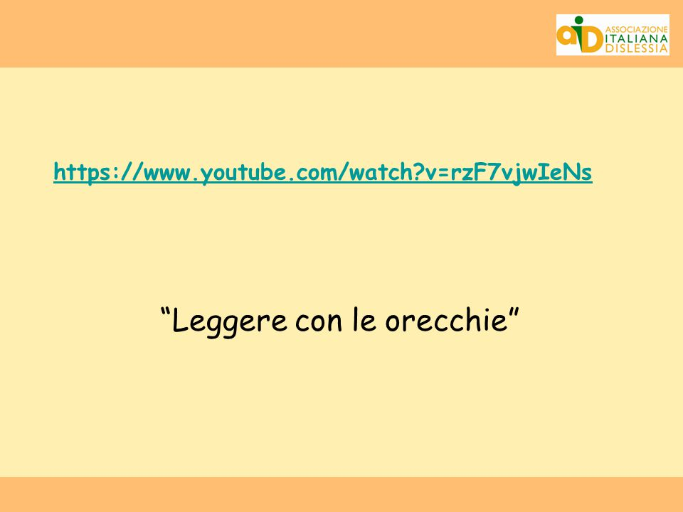 "https://www.youtube.com/watch?v=rzF7vjwIeNs ""Leggere con le orecchie"""