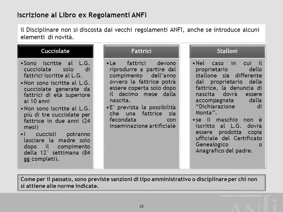 28 Iscrizione al Libro ex Regolamenti ANFI il Disciplinare non si discosta dai vecchi regolamenti ANFI, anche se introduce alcuni elementi di novità.