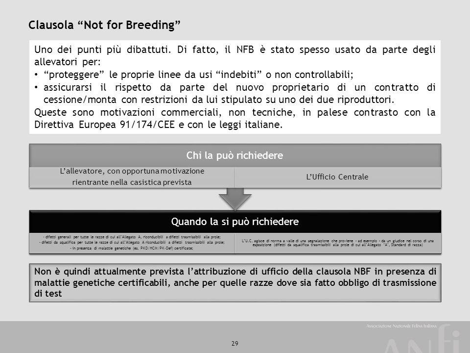 """29 Clausola """"Not for Breeding"""" Uno dei punti più dibattuti. Di fatto, il NFB è stato spesso usato da parte degli allevatori per: """"proteggere"""" le propr"""