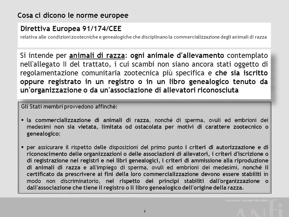 4 Cosa ci dicono le norme europee Direttiva Europea 91/174/CEE relativa alle condizioni zootecniche e genealogiche che disciplinano la commercializzaz