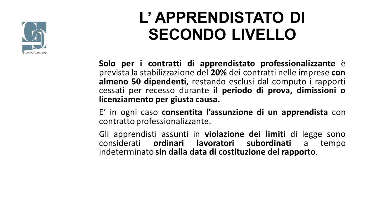 L' APPRENDISTATO DI SECONDO LIVELLO Solo per i contratti di apprendistato professionalizzante è prevista la stabilizzazione del 20% dei contratti nell