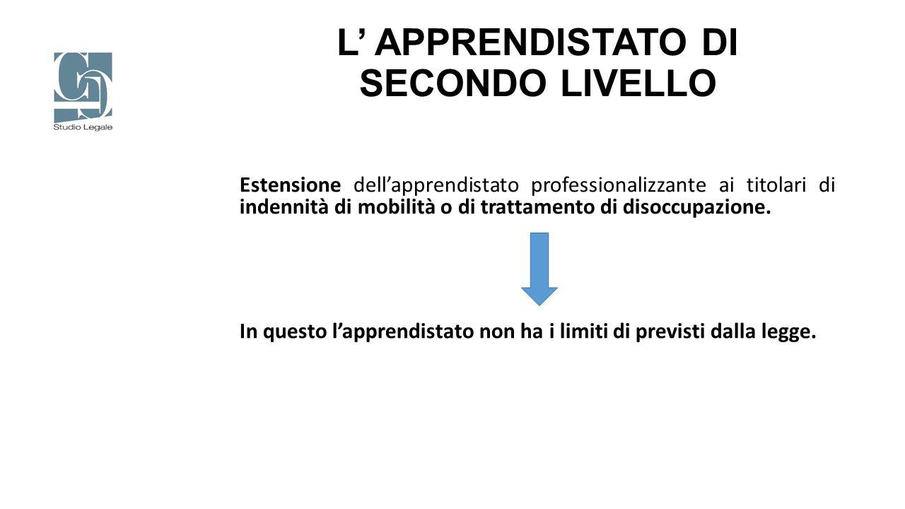 L' APPRENDISTATO DI SECONDO LIVELLO Estensione dell'apprendistato professionalizzante ai titolari di indennità di mobilità o di trattamento di disoccu