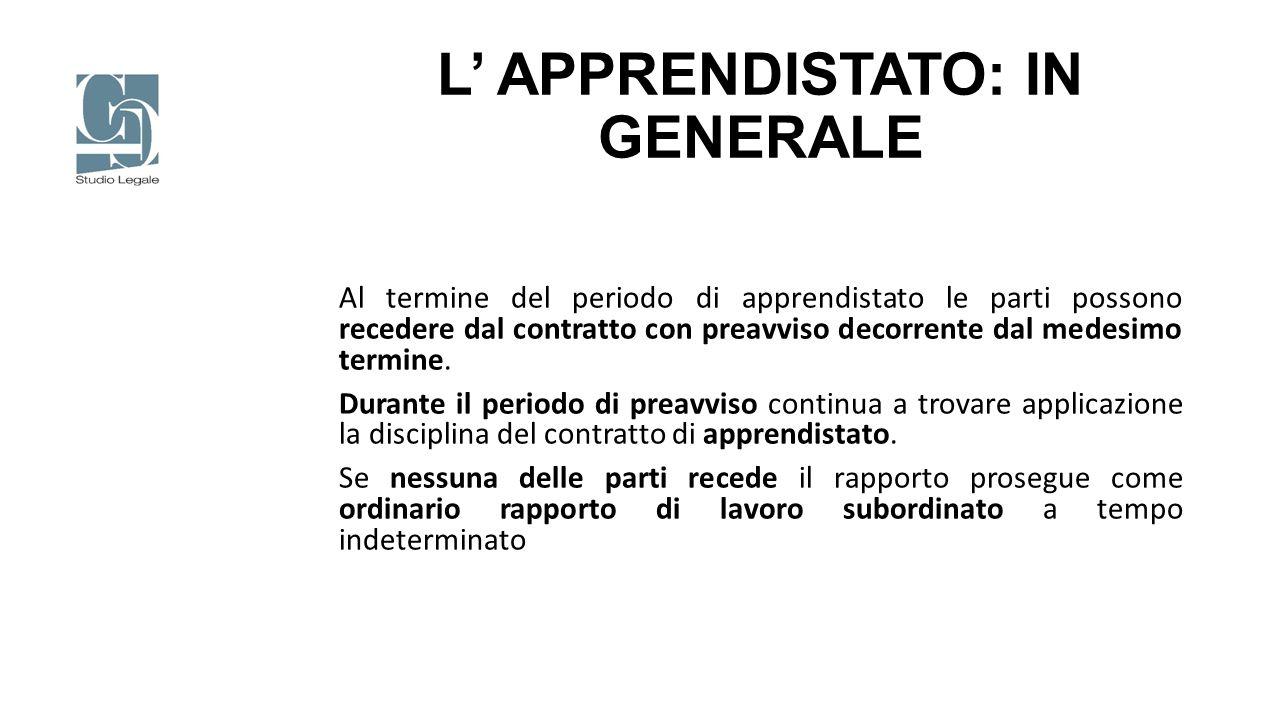 L' APPRENDISTATO: IN GENERALE Al termine del periodo di apprendistato le parti possono recedere dal contratto con preavviso decorrente dal medesimo te