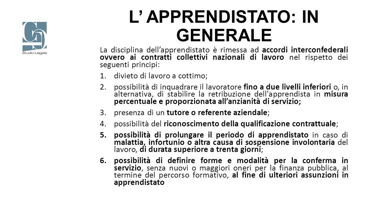 L' APPRENDISTATO: IN GENERALE La disciplina dell'apprendistato è rimessa ad accordi interconfederali ovvero ai contratti collettivi nazionali di lavor