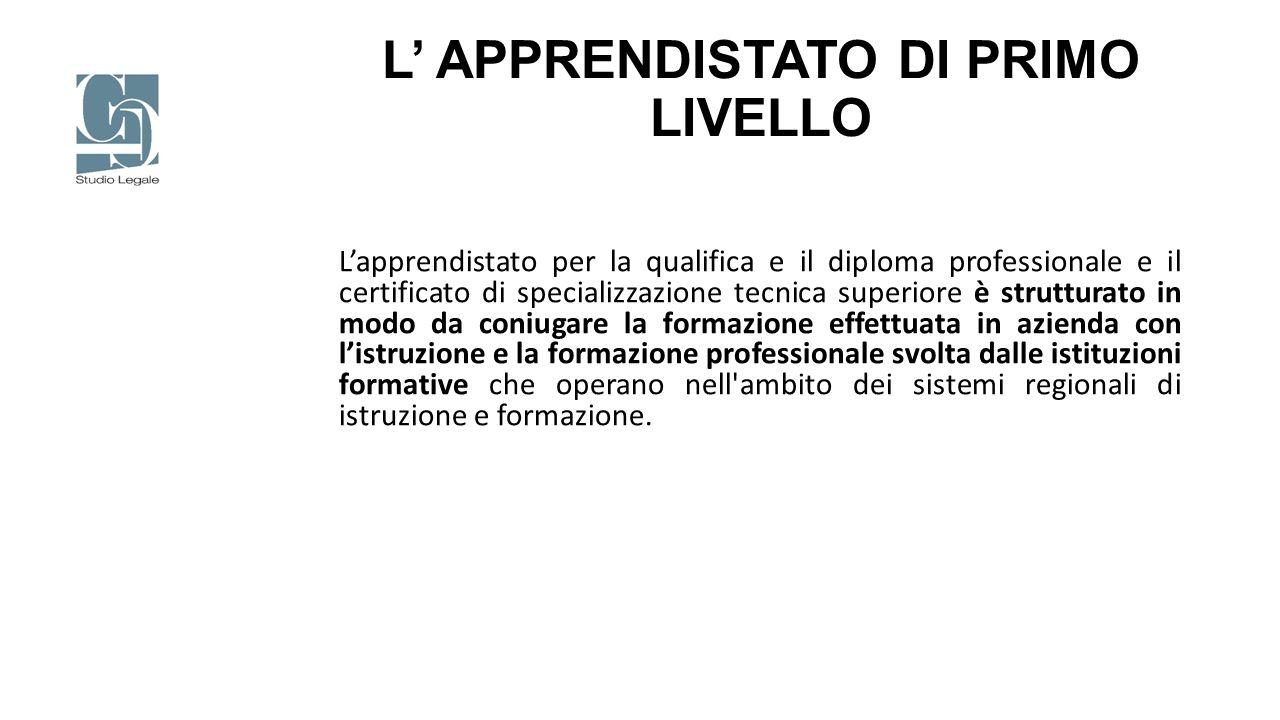 L' APPRENDISTATO DI PRIMO LIVELLO L'apprendistato per la qualifica e il diploma professionale e il certificato di specializzazione tecnica superiore è
