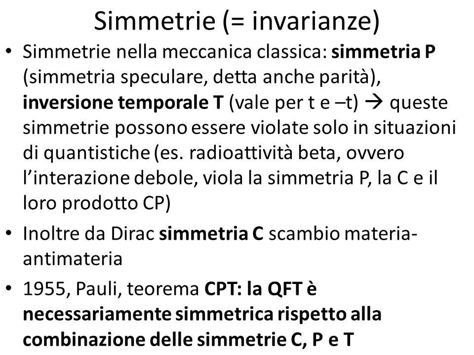 Simmetrie (= invarianze) Simmetrie nella meccanica classica: simmetria P (simmetria speculare, detta anche parità), inversione temporale T (vale per t
