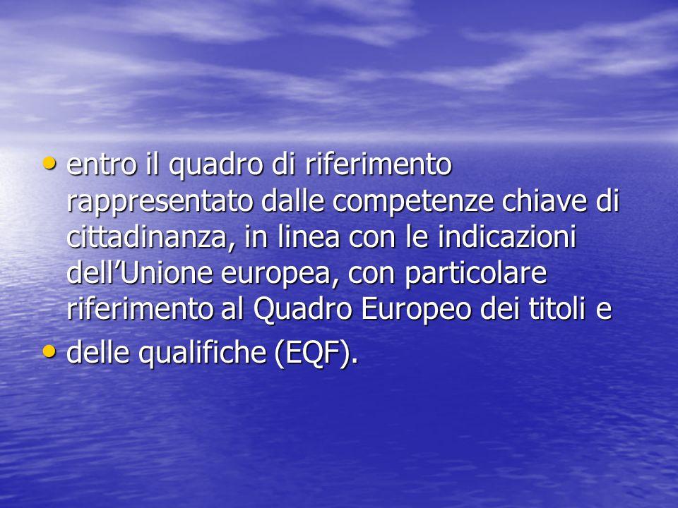 entro il quadro di riferimento rappresentato dalle competenze chiave di cittadinanza, in linea con le indicazioni dell'Unione europea, con particolare