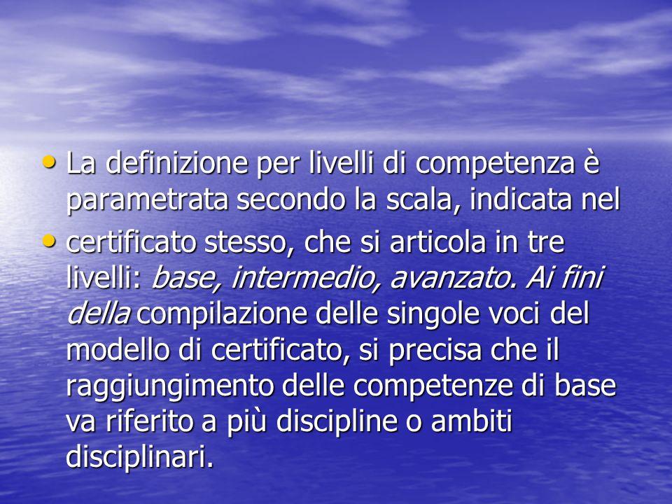 La definizione per livelli di competenza è parametrata secondo la scala, indicata nel La definizione per livelli di competenza è parametrata secondo l