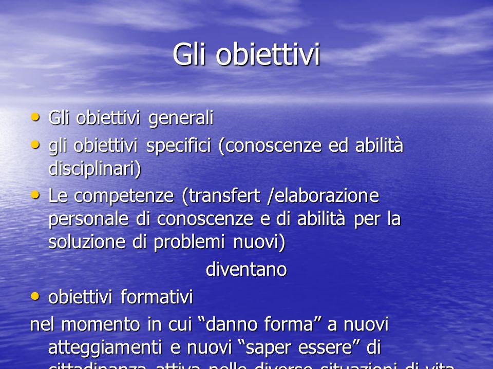 Gli obiettivi Gli obiettivi generali Gli obiettivi generali gli obiettivi specifici (conoscenze ed abilità disciplinari) gli obiettivi specifici (cono