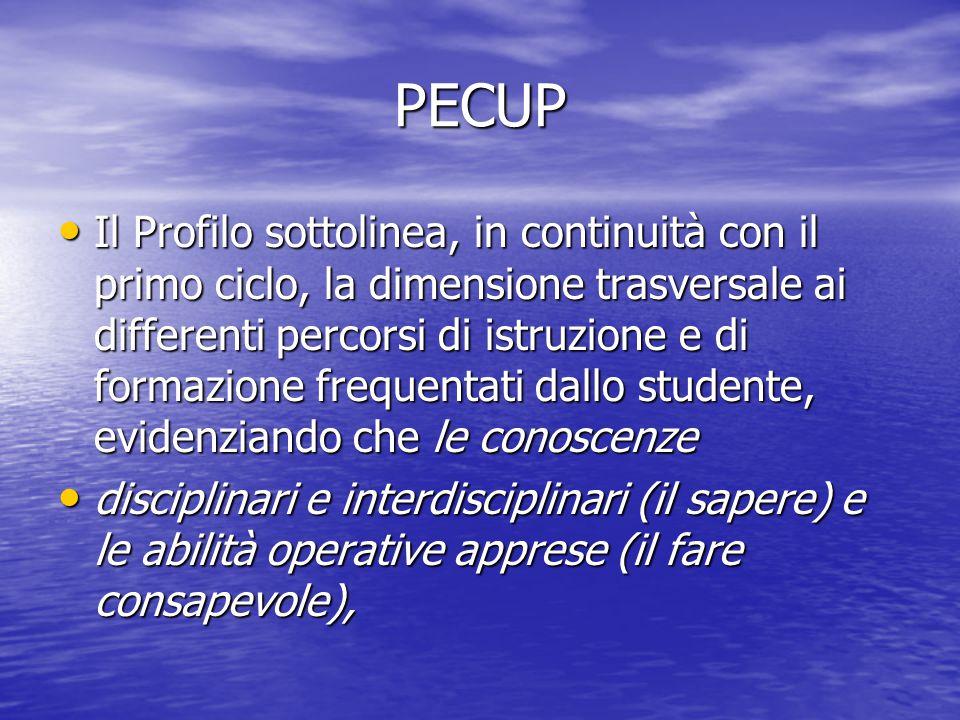 PECUP Il Profilo sottolinea, in continuità con il primo ciclo, la dimensione trasversale ai differenti percorsi di istruzione e di formazione frequent