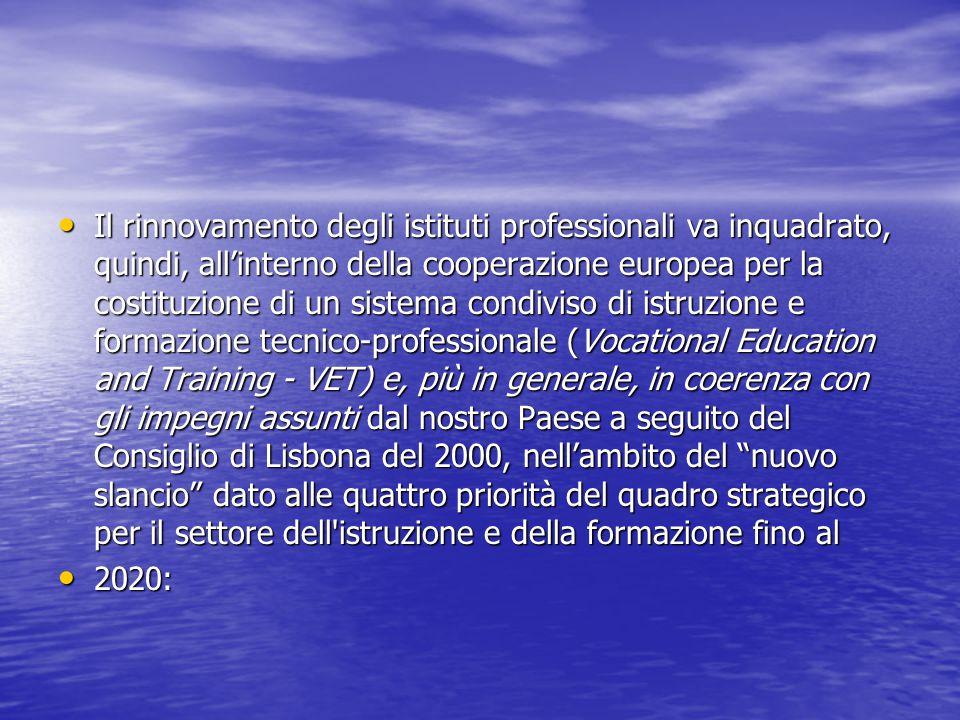 Il rinnovamento degli istituti professionali va inquadrato, quindi, all'interno della cooperazione europea per la costituzione di un sistema condiviso