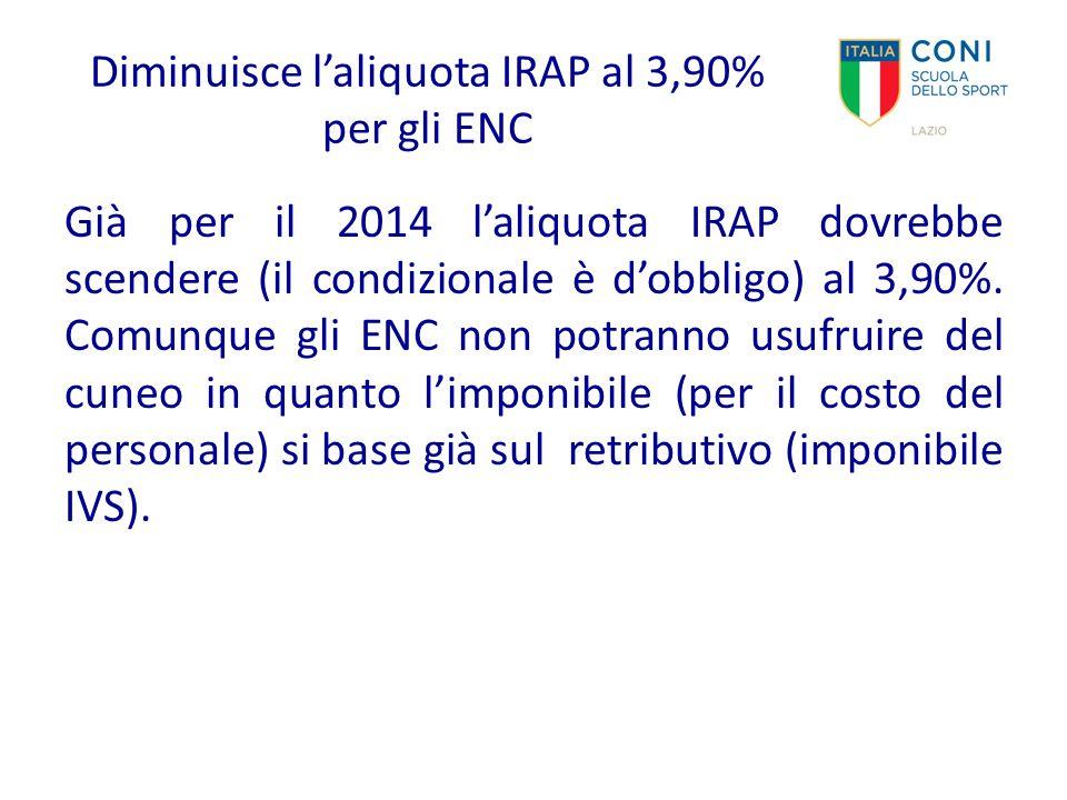 Diminuisce l'aliquota IRAP al 3,90% per gli ENC Già per il 2014 l'aliquota IRAP dovrebbe scendere (il condizionale è d'obbligo) al 3,90%. Comunque gli