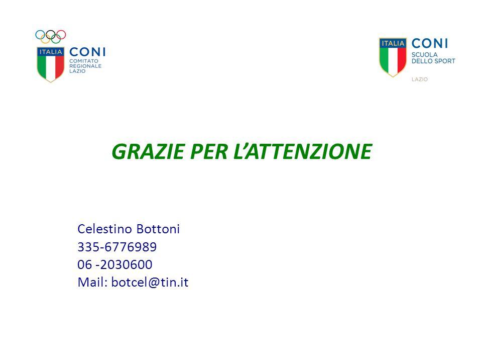 GRAZIE PER L'ATTENZIONE Celestino Bottoni 335-6776989 06 -2030600 Mail: botcel@tin.it