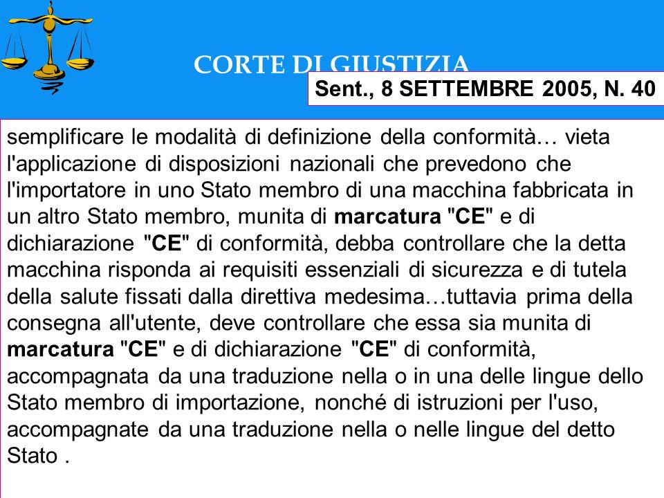 Documento redatto dall'Avv. Antonio Porpora CORTE DI GIUSTIZIA Sent., 8 SETTEMBRE 2005, N.