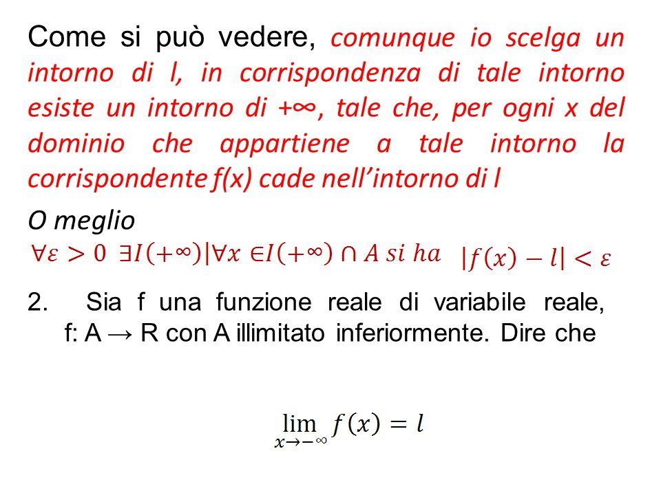 Come si può vedere, comunque io scelga un intorno di l, in corrispondenza di tale intorno esiste un intorno di +∞, tale che, per ogni x del dominio ch