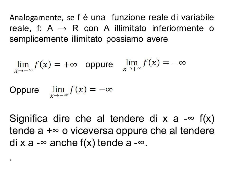 Analogamente, se f è una funzione reale di variabile reale, f: A → R con A illimitato inferiormente o semplicemente illimitato possiamo avere oppure O