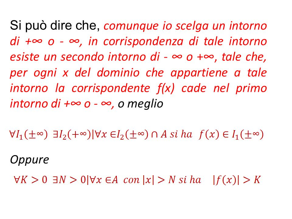 Si può dire che, comunque io scelga un intorno di +∞ o - ∞, in corrispondenza di tale intorno esiste un secondo intorno di - ∞ o +∞, tale che, per ogn