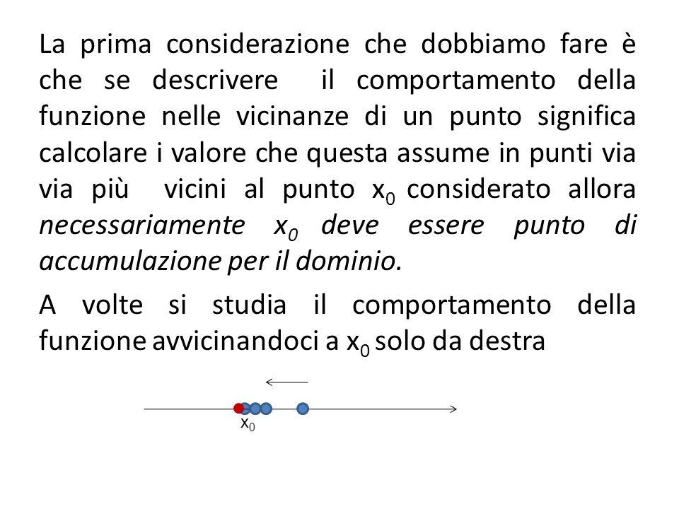 x0x0 La prima considerazione che dobbiamo fare è che se descrivere il comportamento della funzione nelle vicinanze di un punto significa calcolare i v