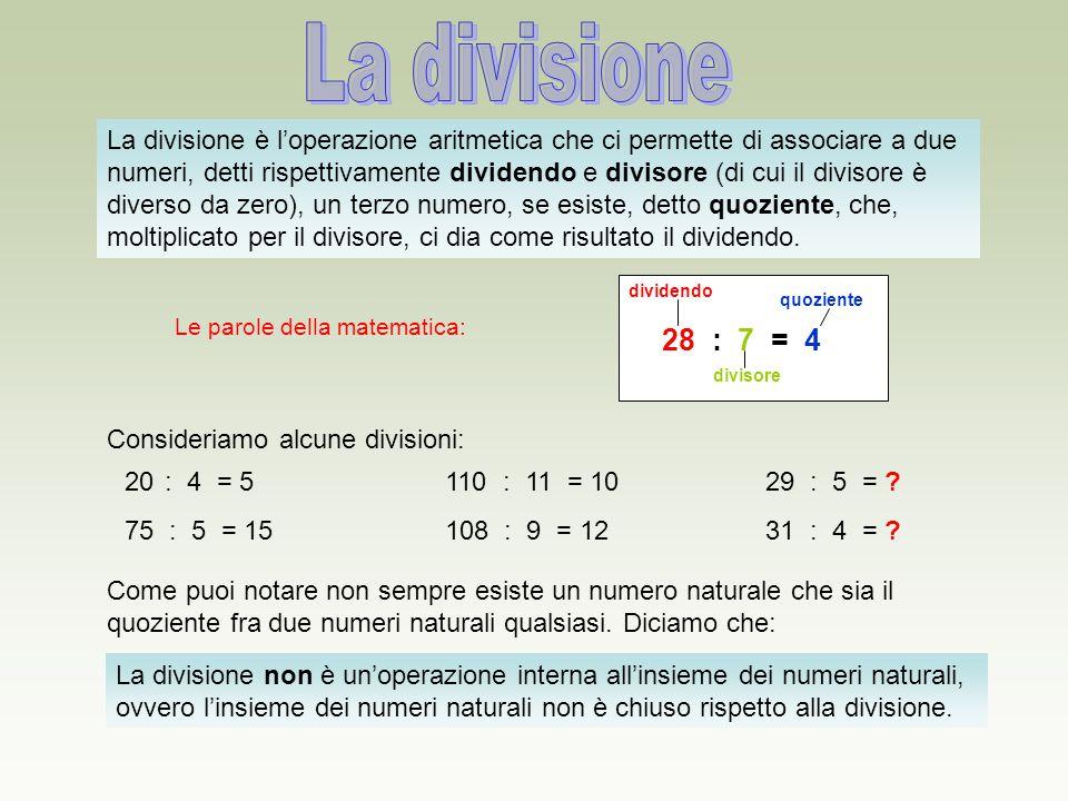 La divisione è l'operazione aritmetica che ci permette di associare a due numeri, detti rispettivamente dividendo e divisore (di cui il divisore è div