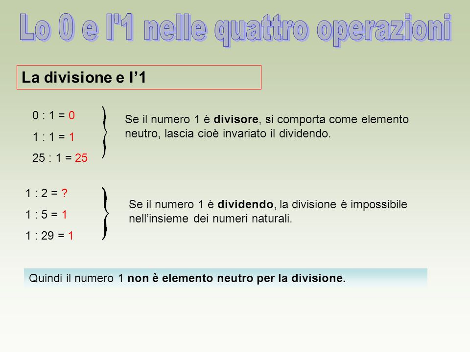 Quindi il numero 1 non è elemento neutro per la divisione. La divisione e l'1 0 : 1 = 0 1 : 1 = 1 25 : 1 = 25 Se il numero 1 è divisore, si comporta c