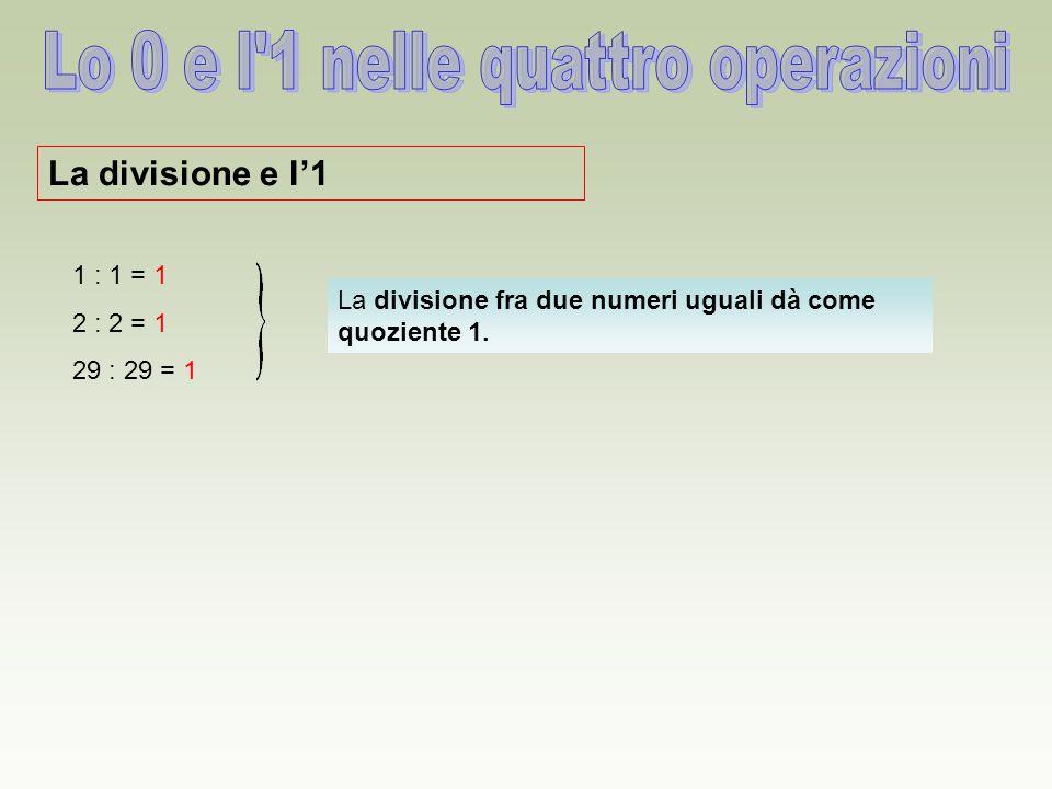 La divisione e l'1 La divisione fra due numeri uguali dà come quoziente 1. 1 : 1 = 1 2 : 2 = 1 29 : 29 = 1