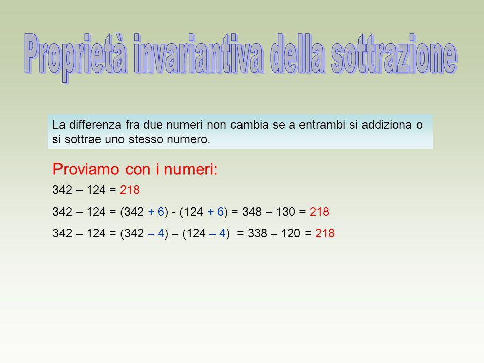 La differenza fra due numeri non cambia se a entrambi si addiziona o si sottrae uno stesso numero. Proviamo con i numeri: 342 – 124 = 218 342 – 124 =