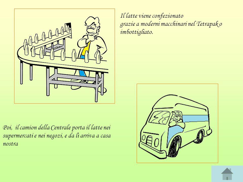 Il latte viene confezionato grazie a moderni macchinari nel Tetrapak o imbottigliato.