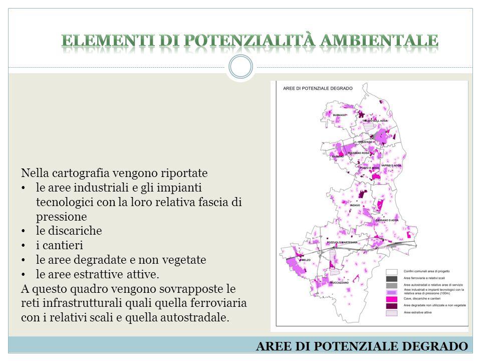 AREE DI POTENZIALE DEGRADO Nella cartografia vengono riportate le aree industriali e gli impianti tecnologici con la loro relativa fascia di pressione le discariche i cantieri le aree degradate e non vegetate le aree estrattive attive.