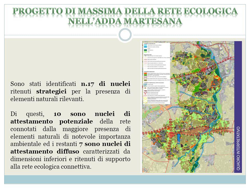 Sono stati identificati n.17 di nuclei ritenuti strategici per la presenza di elementi naturali rilevanti.