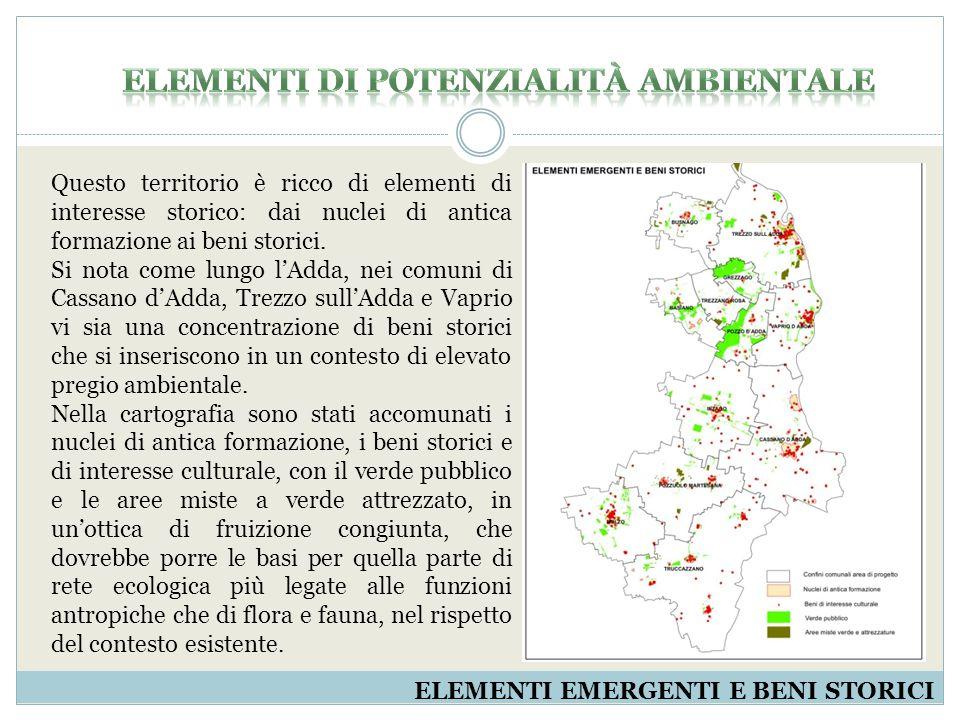 ELEMENTI EMERGENTI E BENI STORICI Prati16.157.05914,02% Vegetazione dei greti, spiagge, dune ed alvei ghiaiosi324.0640,28% Cespuglieti770.8580,67% Boschi2.625.1942,28% Formazioni ripariali o vegetazione degli argini sopraelevati3.453.0863,00% Totale area115.211.973100,00% Il sistema rurale-paesistico e ambientale, cioè il territorio prevalentemente libero da insediamenti o non urbanizzato, naturale, residuale o dedicato ad usi produttivi primari, viene disegnato e messo a sistema riportando gli elementi naturali