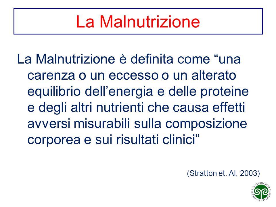 """La Malnutrizione La Malnutrizione è definita come """"una carenza o un eccesso o un alterato equilibrio dell'energia e delle proteine e degli altri nutri"""
