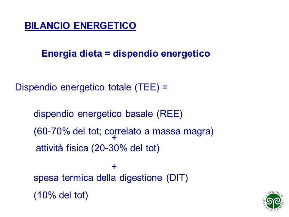 BILANCIO ENERGETICO Energia dieta = dispendio energetico Dispendio energetico totale (TEE) = dispendio energetico basale (REE) (60-70% del tot; correl