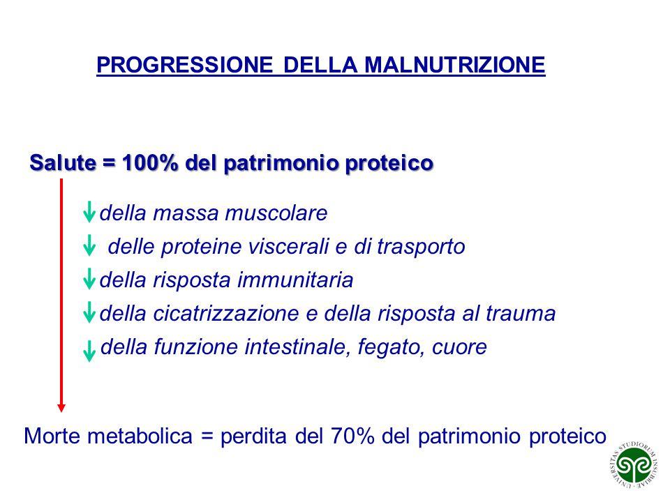 PROGRESSIONE DELLA MALNUTRIZIONE Salute = 100% del patrimonio proteico Morte metabolica = perdita del 70% del patrimonio proteico della massa muscolar