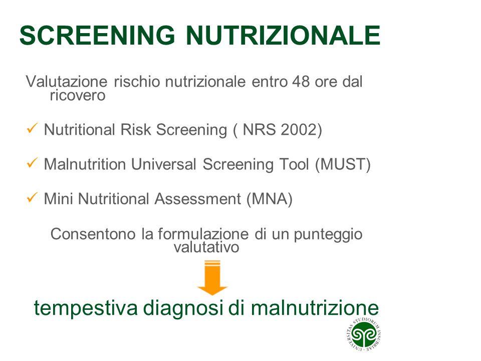 SCREENING NUTRIZIONALE Valutazione rischio nutrizionale entro 48 ore dal ricovero Nutritional Risk Screening ( NRS 2002) Malnutrition Universal Screen
