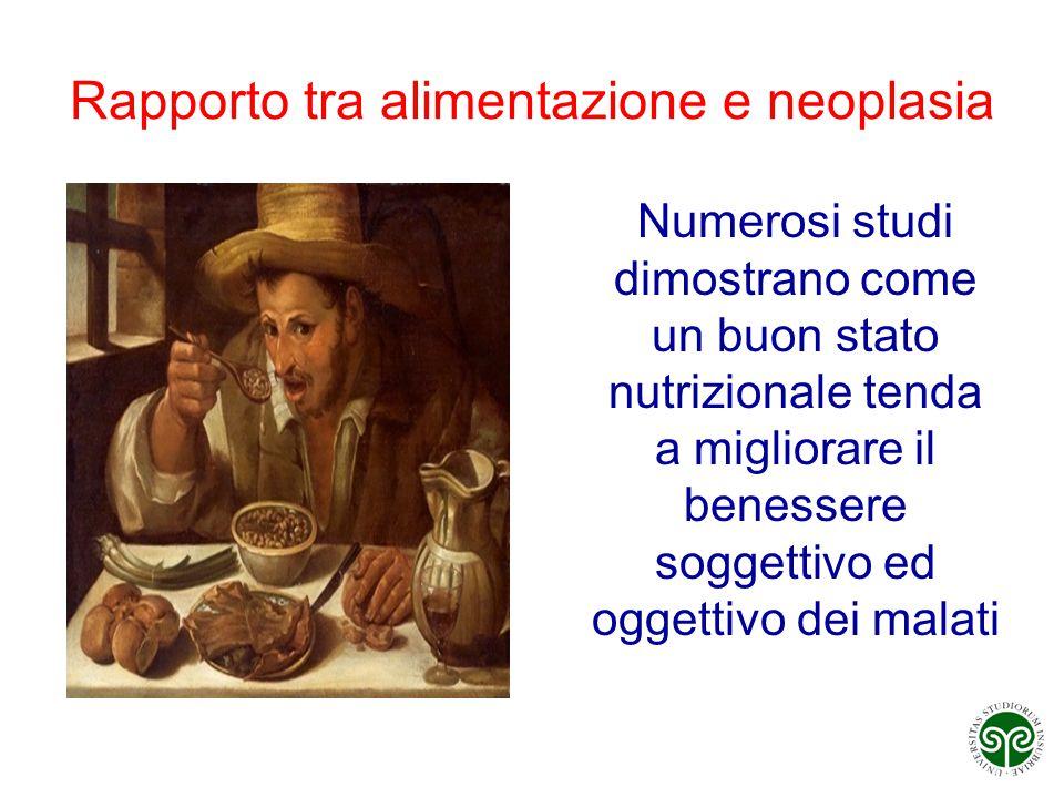 Rapporto tra alimentazione e neoplasia Numerosi studi dimostrano come un buon stato nutrizionale tenda a migliorare il benessere soggettivo ed oggetti