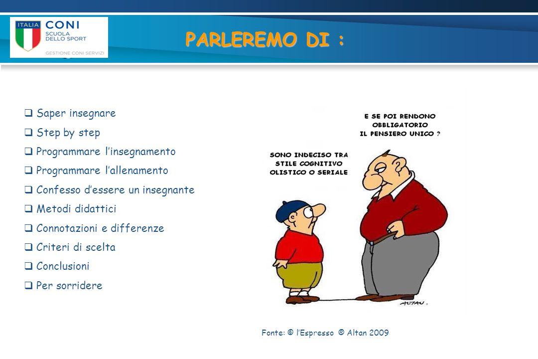 PARLEREMO DI :  Saper insegnare  Step by step  Programmare l'insegnamento  Programmare l'allenamento  Confesso d'essere un insegnante  Metodi di