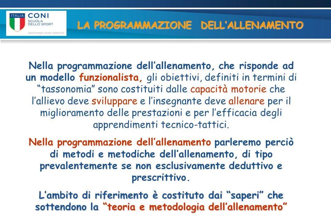 """Nella programmazione dell'allenamento, che risponde ad un modello funzionalista, gli obiettivi, definiti in termini di """"tassonomia"""" sono costituiti da"""