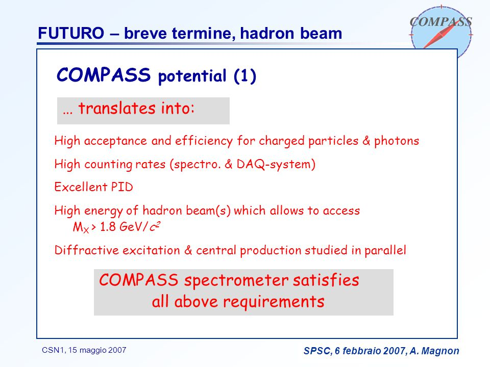 F. BradamanteCSN1, 15 maggio 2007 SPSC, 6 febbraio 2007, A. Magnon FUTURO – breve termine, hadron beam High acceptance and efficiency for charged part