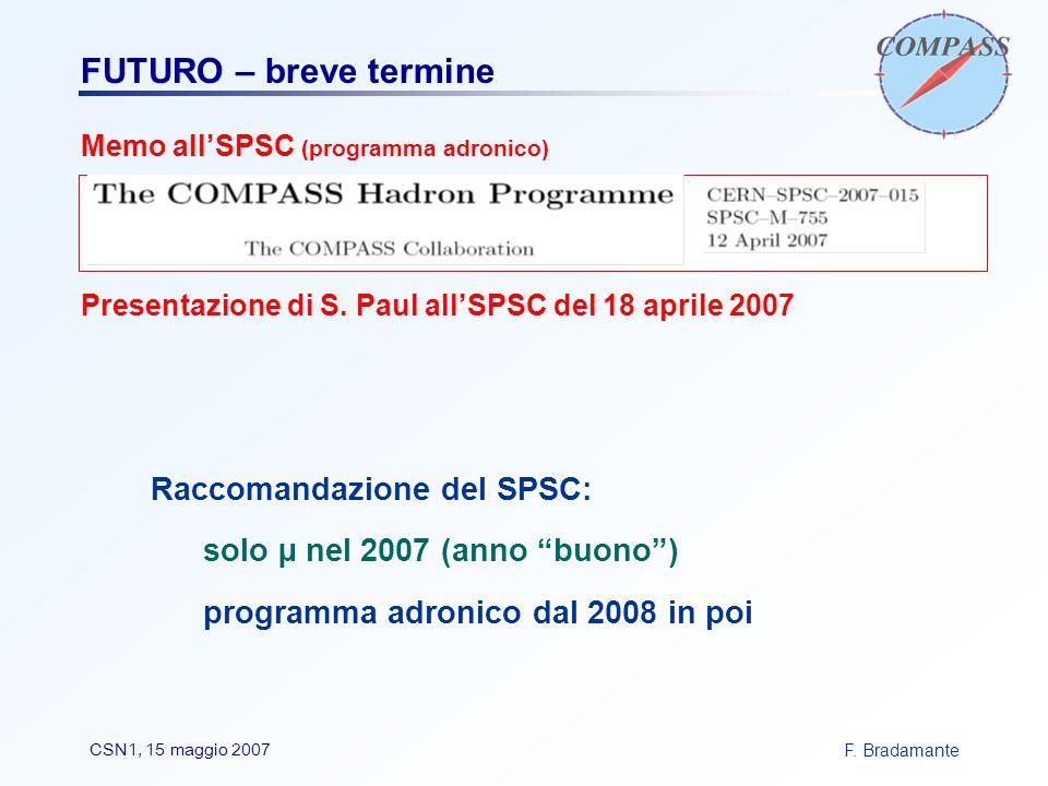 F. BradamanteCSN1, 15 maggio 2007 FUTURO – breve termine Memo all'SPSC (programma adronico) Presentazione di S. Paul all'SPSC del 18 aprile 2007 Racco