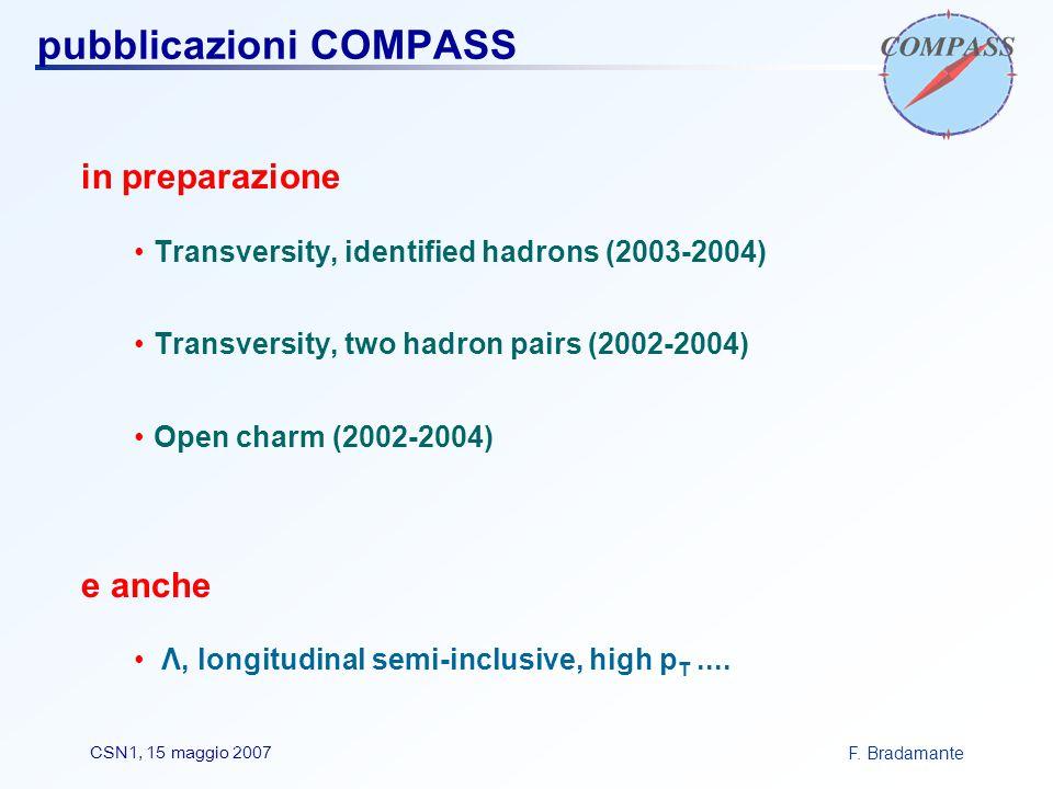 F. BradamanteCSN1, 15 maggio 2007 pubblicazioni COMPASS in preparazione Transversity, identified hadrons (2003-2004) Transversity, two hadron pairs (2