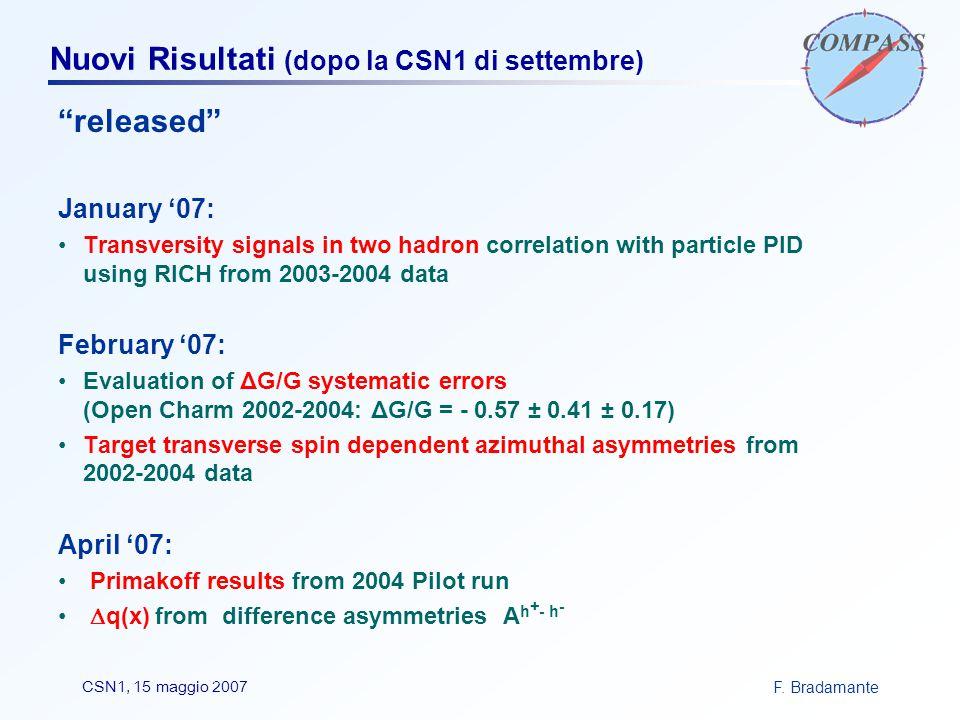 """F. BradamanteCSN1, 15 maggio 2007 Nuovi Risultati (dopo la CSN1 di settembre) """"released"""" January '07: Transversity signals in two hadron correlation w"""