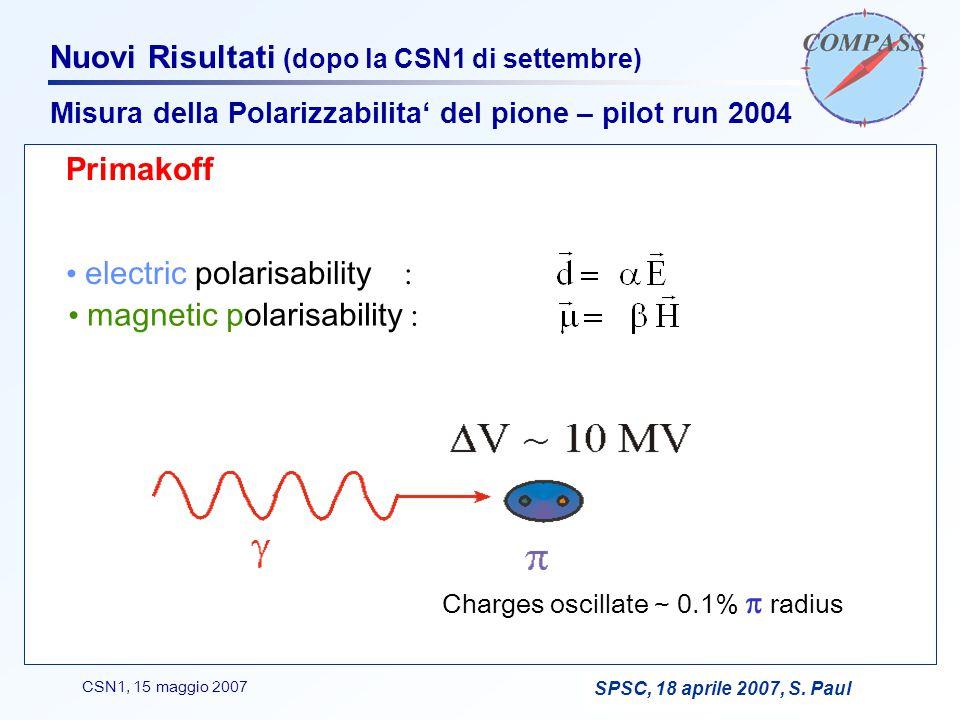 F. BradamanteCSN1, 15 maggio 2007 Nuovi Risultati (dopo la CSN1 di settembre) Primakoff electric polarisability : magnetic polarisability : Charges os